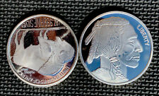 Lot of 2 ~ 1oz. .999 Fine Silver Buffalo American Indian,2oz Total,Rounds,NICE!!
