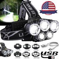 350000LM 5X T6 LED Rechargeable Headlight Headlamp Flashlight 18650 Head Torch