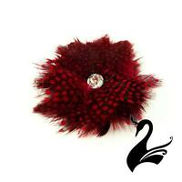 Flower Feather Guinea Poppy - Red - Millinery Hats Fascinators