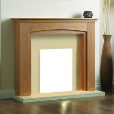 ELECTRIC OAK CREAM MODERN FREESTANDING FIRE SURROUND FIREPLACE SUITE LARGE 54""