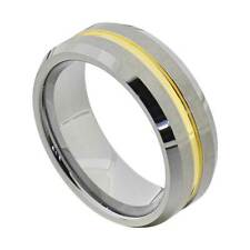 8mm Tungsten Gold Plated Grooved Center Stripe Band Men's Wedding Ring