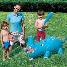 Rinoceronte gonfiabile con spruzzo d'acqua baseball mare piscina 120x40x50 cm