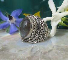 orientalischer Ring Labradorit Stein des Sternzeichen Löwe Sterling Silber 925
