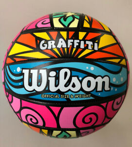 NEW WILSON VOLLEYBALL GRAFFITI OFFICIAL SIZE WEIGHT PLAY OUTDOOR SPORTS PRO