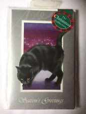 'Glad Tidings' Beautiful Black Cat Silver Purple 15 small Christmas cards SALE