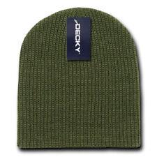 Cuffless Army Green Olive Sweater Beanie Knit Stocking Cap Skully Winter Hat Ski
