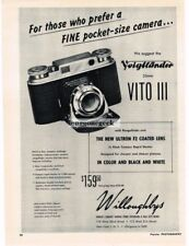 1951 Voigtlander Vito III 35mm Camera viewfinder Vtg Print Ad