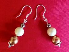 Lovely Cream+Gold+ Brown South Sea PEARL earrings+jewellery pouch HANDMADE in UK