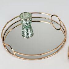 Spiegeltablett MODERN GOLD rund D. 38cm kupfer gold Glas + Metall Formano W19