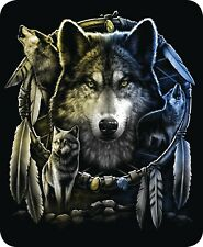 Queen Size Wolf Mandela Dreamcatcher Wolves Mink Blanket Super Soft Plush Fleece