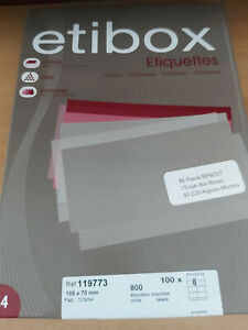 """ETIQUETTES """"ETIBOX """"  REF 11973 NEUVE"""