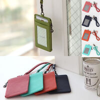 Leather Id Card Holder Wallet Credit Card Badge Necklace Strap Lanyard Korea NV
