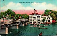 Vtg Linen Postcard Wichita Kansas 1943 Riverside Boat House