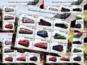 👉 MONGOLIA 1992/2000 Historic TRAINS/LOCOMOTIVES  x30 M/S +25 S/S MNH RAILROADS