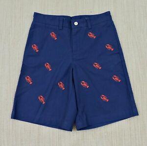 "VINEYARD VINES NWOT Boys Sz 12 Blue Embroidered Red Lobster Cotton 9"" Shorts"