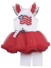 NWT Rare Editions Girl 4T DRESSY RED PATRIOTIC FLAG PAGEANT Tutu Legging Set