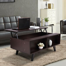 Large Wood Lift Top Coffee Table w/Hidden Compartment Storage Shelf Living Room