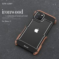 R-JUST Aluminum Metal+Natural Wood Bumper Case Cover For iPhone 11 PRO XS MAX XR