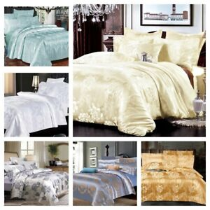 New Jacquard Luxury 4Pcs Complete Bedding Set Duvet Cover+Bed Sheet Double King