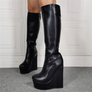 Women's Boots Punk Cosplay Platform Wedge Heel Knee High Knight Gothic Creeper