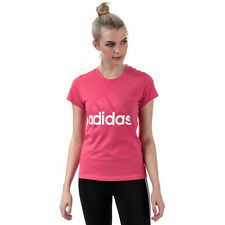 Womens adidas Essentials Linear Slim T-Shirt In Real Pink / White