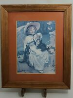 "Charles Burton Barber Framed VTG Reprint: ""You Must n't Pull"" (Girl With 2 Cats)"