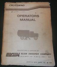Elgin Crosswind Spazzatrice Operatore Operazione & Cura Manuale Libro