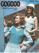 Vintage knitting pattern for 2 ladies v neck slipovers in 4 ply