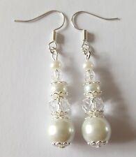 Handmade White Silver Clear Glass Pearl Acrylic Rondelle Beaded Bridal Earrings