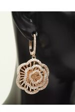 New Rose Gold Flower Earrings with Sapphires 925 Silver (15gram)