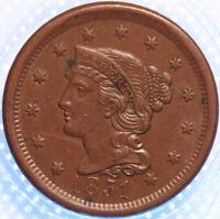 "1851 ""BRAIDED HAIR"" LARGE CENT, VERY CHOICE AU, GLOSSY BROWN, ORIGINAL, CLASSIC!"