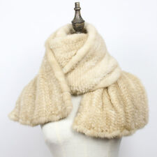 100% Real Genuine Knit Mink Fur Scarf Shawl Stole Wrap Cape Ladies Blue color