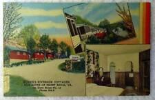Linen Postcard Bowers Riverside Cottages Motel Front Royal Virginia #2