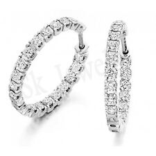 3.10ctw NATURAL  DIAMOND 14K WHITE GOLD WEDDING ANNIVERSARY HOOPS EARRING