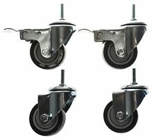 """3"""" Heavy-Duty Threaded Stem Casters w/Brakes Set for Wire Shelving"""