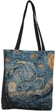 BELGIAN TAPESTRY LARGE SHOPPING TOTE BAG 46CM X 46CM, VAN GOGH STARRY NIGHT