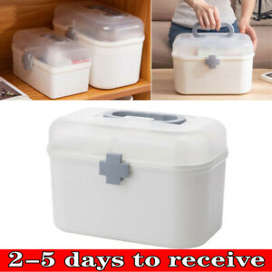 2 Tier First Aid Health Medicine Organizer Emergency Empty Storage Box Home Gift