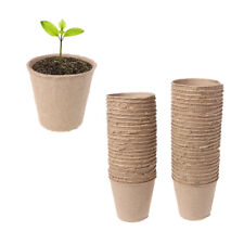 50Pcs New Round Biodegradable Paper Pulp Peat Pots Plant Nursery Cup Tray Garden