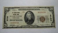 $20 1929 Punxsutawney Pennsylvania PA National Currency Bank Note Bill! #5702 VF