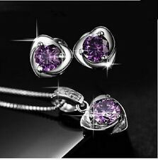 925 STERLING SILVER PLATED PURPLE AUSTRIAN CRYSTAL KP50 EARRING NECKLACE SET