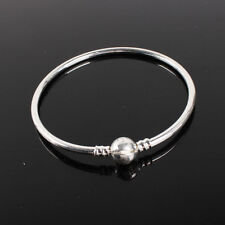 New Simple Round Clasp Silver Bangle Bracelet Fit European Charm Beads