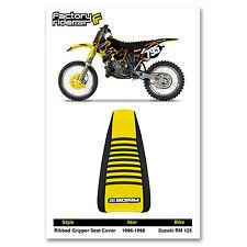 1996-1998 SUZUKI RM 125 Black/Yellow/Black RIBBED SEAT COVER BY Enjoy MFG