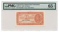 YUGOSLAVIA banknote 20 DINARA 1944. PMG MS-65 EPQ