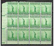 US Scott #899 US postage stamp Statue of Liberty 1¢ WWII 1940 1 Block of 12 MNH