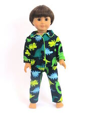 "Dinosaur Pajamas Fits 18"" American Boy or Girl Doll Clothes"
