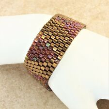 Metallic Gold Wavy Peyote Stitch Woven Bracelet with Gold Plated Slide Clasp