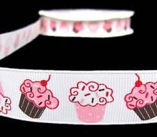"2 Yds Strawberry Vanilla Pink White Sprinkle Cupcakes Grosgrain  Ribbon 7/8""W"