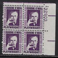 SCOTT 1294a 1973 $1 EUGENE O'NEILL ISSUE PLATE BLOCK OF 4 MNH OG VF!