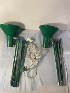 Vintage PAIR of HCF Denmark Green Anglepoise Style Lamps Type 85 with No Base