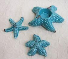 3 er Set Keramik SEESTERN Kerzen Teelicht Halter Bad Deko maritim blau aqua